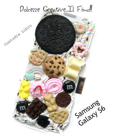 Cover SAMSUNG GALAXY S6 A libro! Cioccolato, oreo, biscotti, miniature, kawaii, cookie, orsetti gommosi