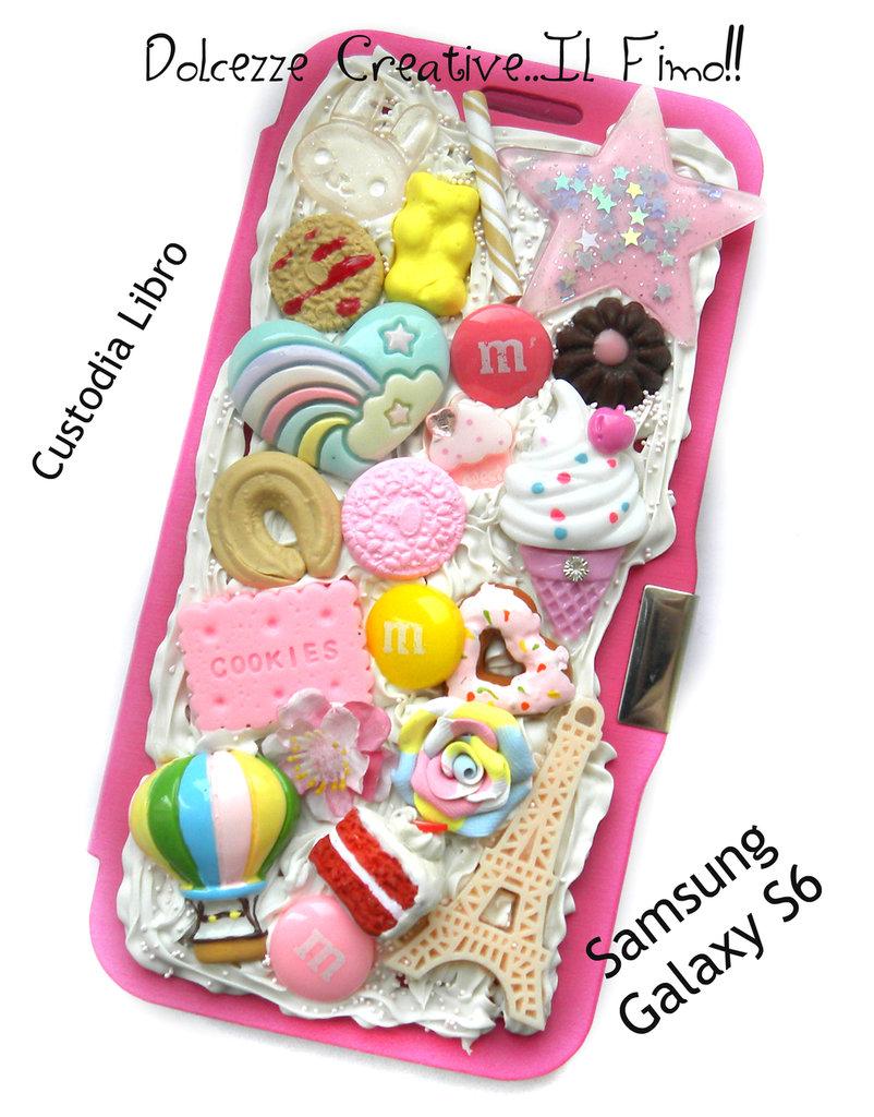 Cover SAMSUNG GALAXY S6 A libro! Cioccolato, oreo, biscotti, miniature, kawaii, cookie, mongolfiera, pastel goth