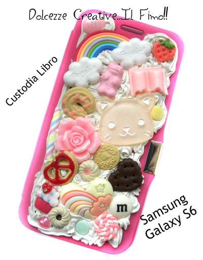Cover SAMSUNG GALAXY S6 A libro! Gatto - Cioccolato, oreo, biscotti, miniature, kawaii, cookie, mongolfiera, pastel goth
