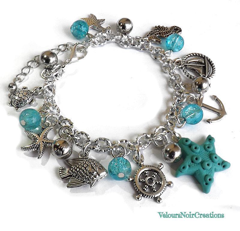 Bracciale con stella marina in fimo e ciondoli a tema mare
