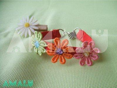 Bracciale in grogrè e fiori macramè - Linea Daisy