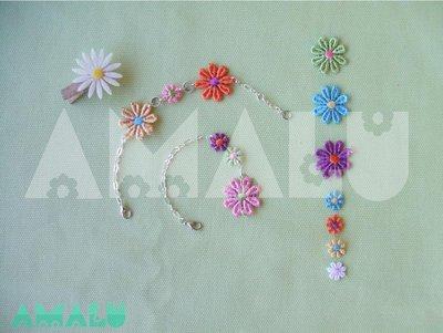 Bracciale/Cavigliera con catenella color argento e fiori in macramè - Linea Daisy