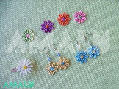 Orecchini pendenti con perla e fiore in macramè - Linea Daisy