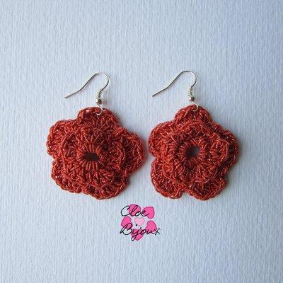 Orecchini Crochet fiore arancione