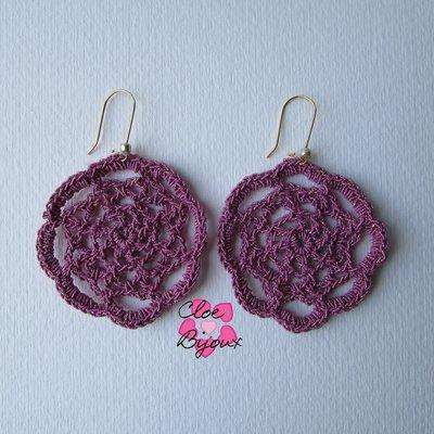 Orecchini Crochet Fiore Rosa