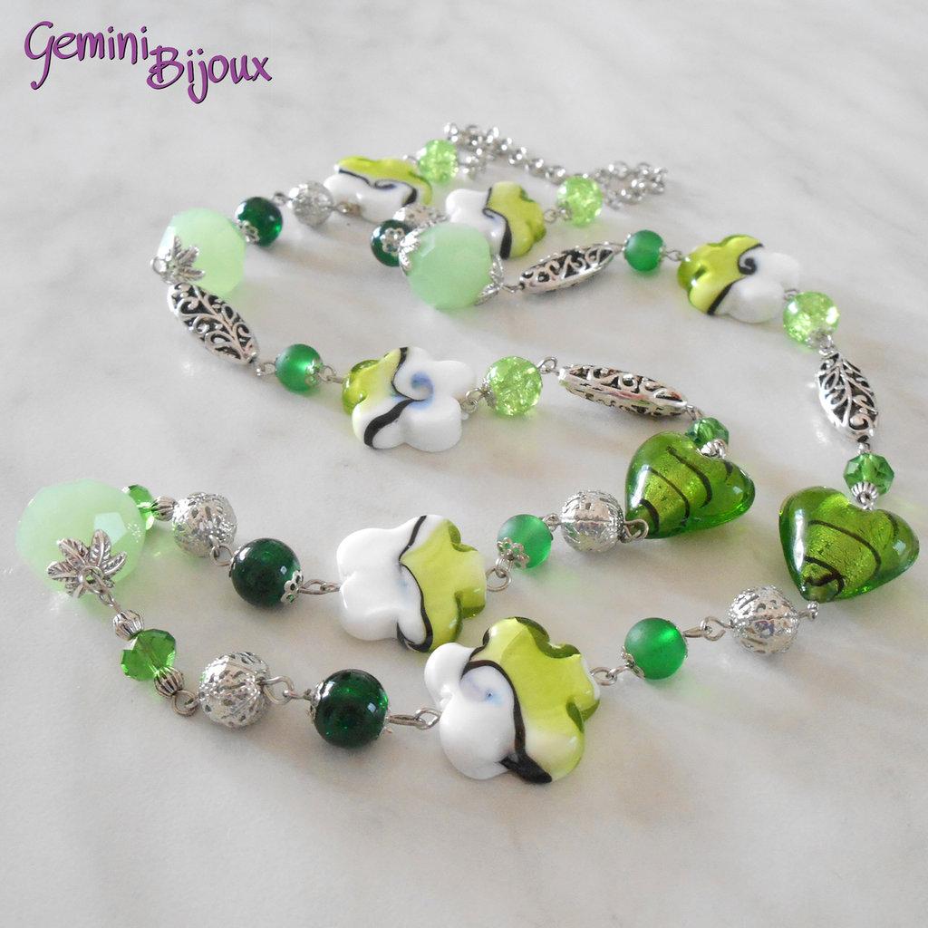 Collana lunga verde e argento, fatto a mano