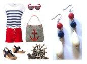 """Orecchini """"Nautical"""" con turchese bianco e pietre blu e rosso"""