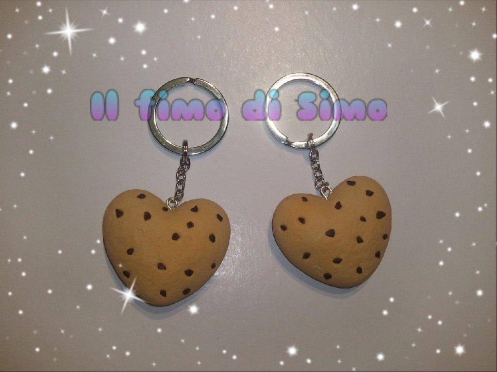 portachiavi cuori biscotti dell'amicizia/amore in fimo