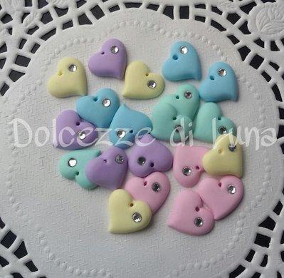 10 pezzi! mini cuoricini con strass, fatti a mano in fimo, misura orecchini da lobo o piccoli pendenti,ideali per bimbe!