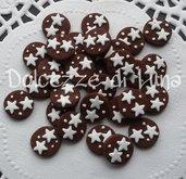 10 pz PAN DI STELLE cabochon biscotto in fimo fatto a mano per orecchini a lobo o piccoli pendenti