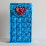 Porta fazzoletti turchese con cuore rosa in lamè fatto a mano