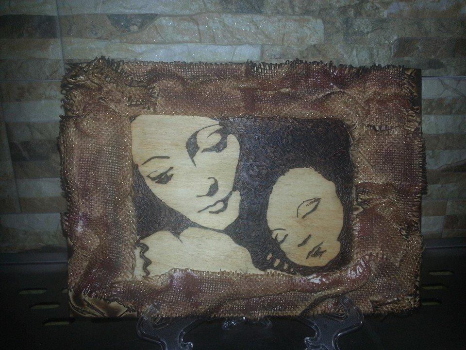 Pirografia Madonna con Bambino