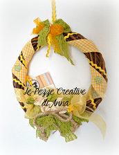 Ghirlanda con decorazioni in stoffa - Giallo
