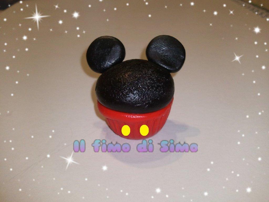bomboniera nascita battesimo cupcake topolino  in fimo