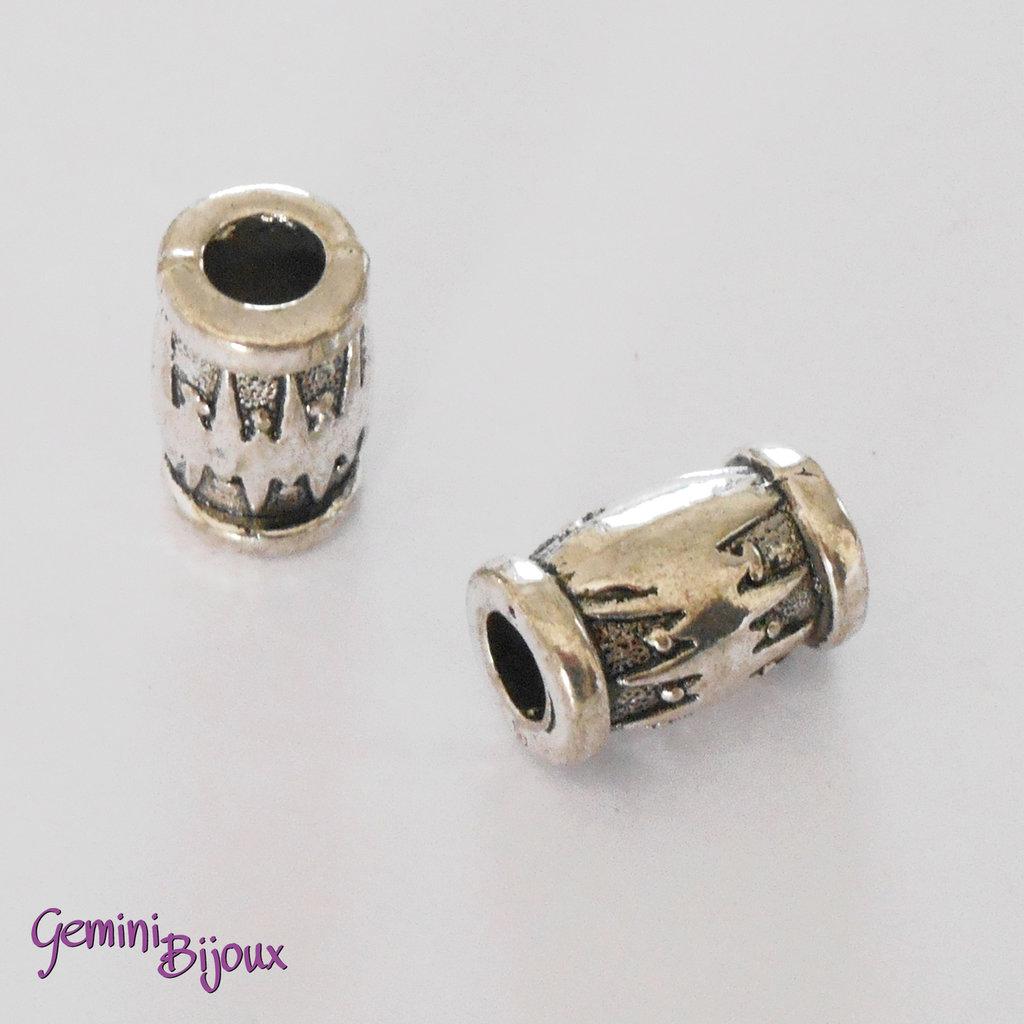 Perla tibetana in alluminio argentata a foro largo, grande barile, mm 17x10. LH5