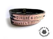 Bracciali coppia INCISIONE nome Personalizzati con nome o frase in pelle e bronzo