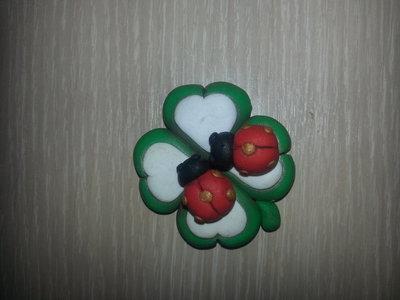 magnete quadrifoglio in fimo