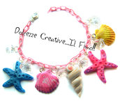 Bracciale - Estate - Summer - Conchiglie - Stelle marine- diamanti, perle
