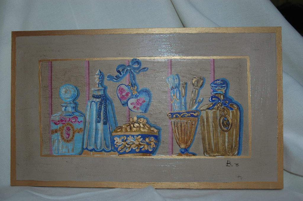 """Quadro in legno dipinto a mano """" Non solo Profumi"""""""