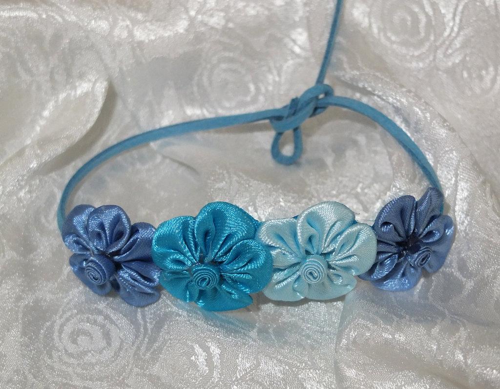 Braccialetto kanzashi colore blu azzurro