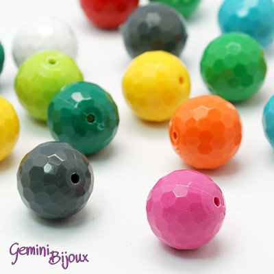 Lotto 5 perle acrilico sfaccettate 20mm color mix