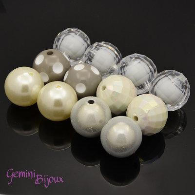 Lotto 5 perle acrilico 20mm bianco-avorio