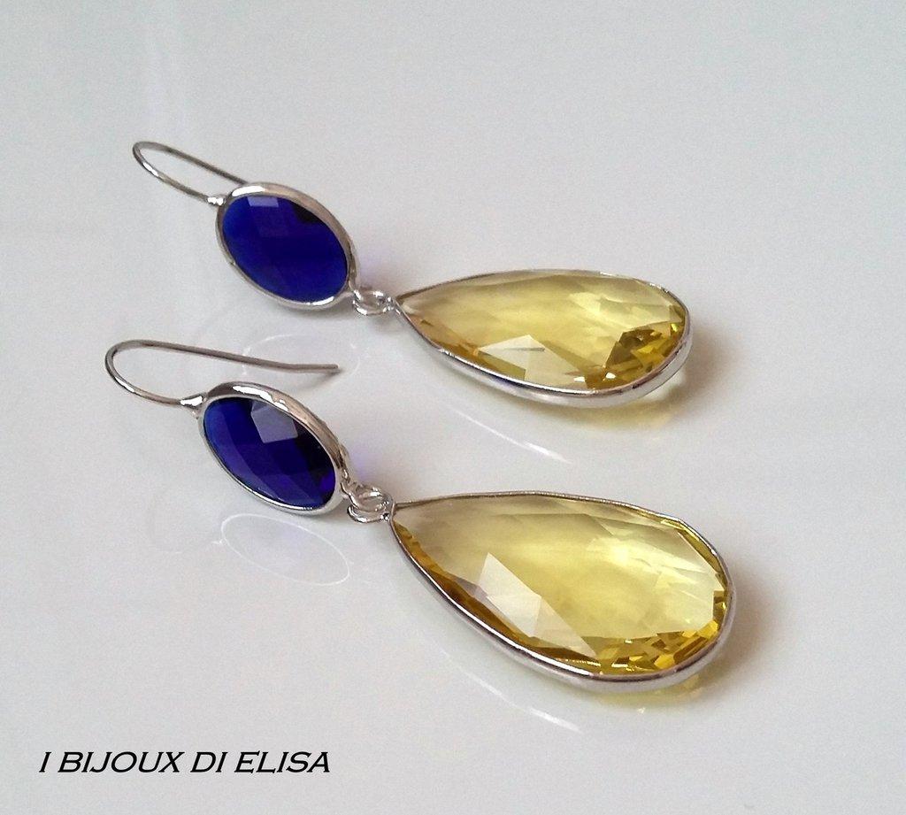 Orecchini con cristalli turchi blu e gialli