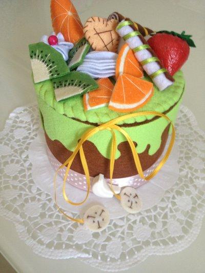 Scatola torta in feltro portagioie porta cucito  centrotavola