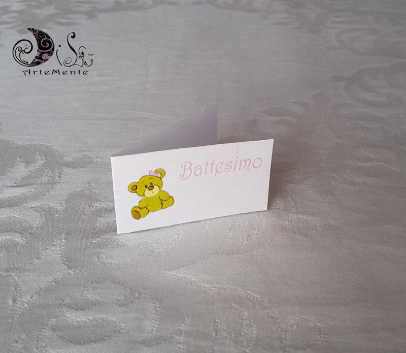 Bigliettini per bomboniere battesimo orsetto per bimba