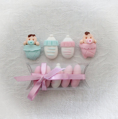 Bomboniera nascita/ battesimo, confetti decorati