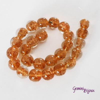 OFFERTA LAMPWORK: fila 26 perle tonde crystal ambra mm.18