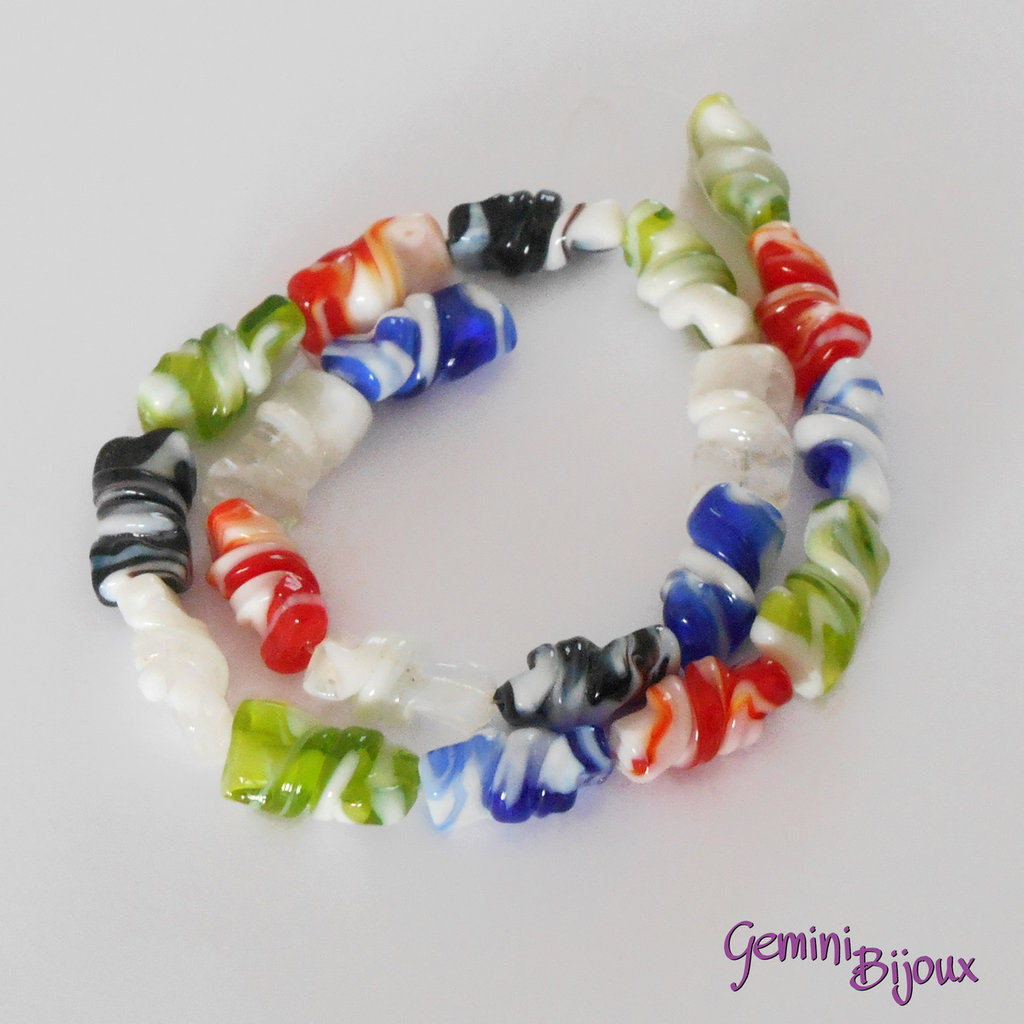 OFFERTA LAMPWORK: fila 20 rettangoli twist mix color mm.20x8x8