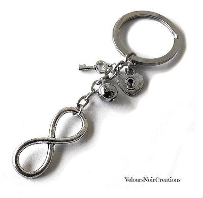 Portachiavi uomo simbolo infinito chiave e cuore con serratura
