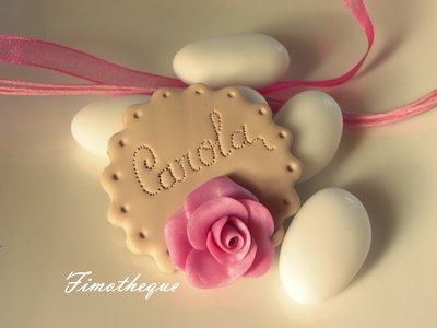 bomboniera calamita biscotto e rosa
