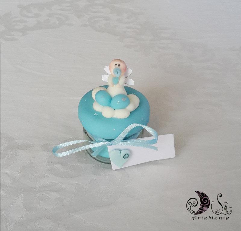 Vasetti bomboniere battesimo in vetro decorati