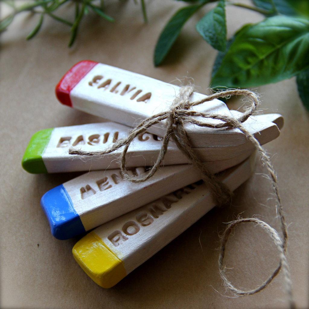 Etichette in ceramica per piante aromatiche, idea regalo e bomboniera alternativa.Spedizione inclusa!