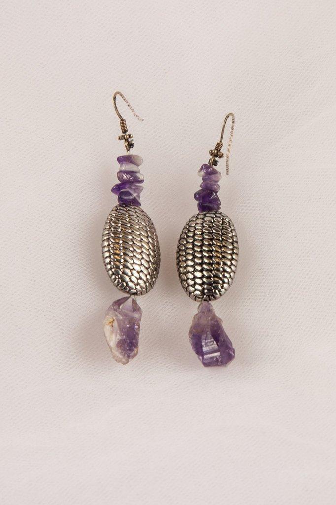 Orecchini con ametrina e ametista con ovali in argento fatti a mano - ametryne and amethyst earrings with oval silver handmade.