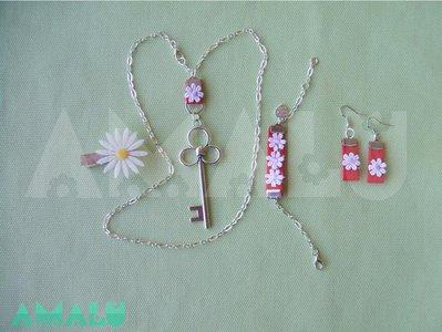 Set completo di collana, bracciale e orecchini in grogrè Rosso.