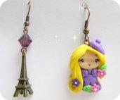Orecchini Fimo Kawaii doll Parigina