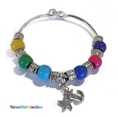 Bracciale bangle arcobaleno ancora e stella marina