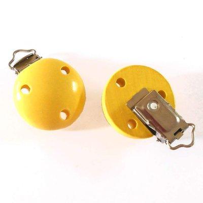 Clip portaciuccio in legno giallo