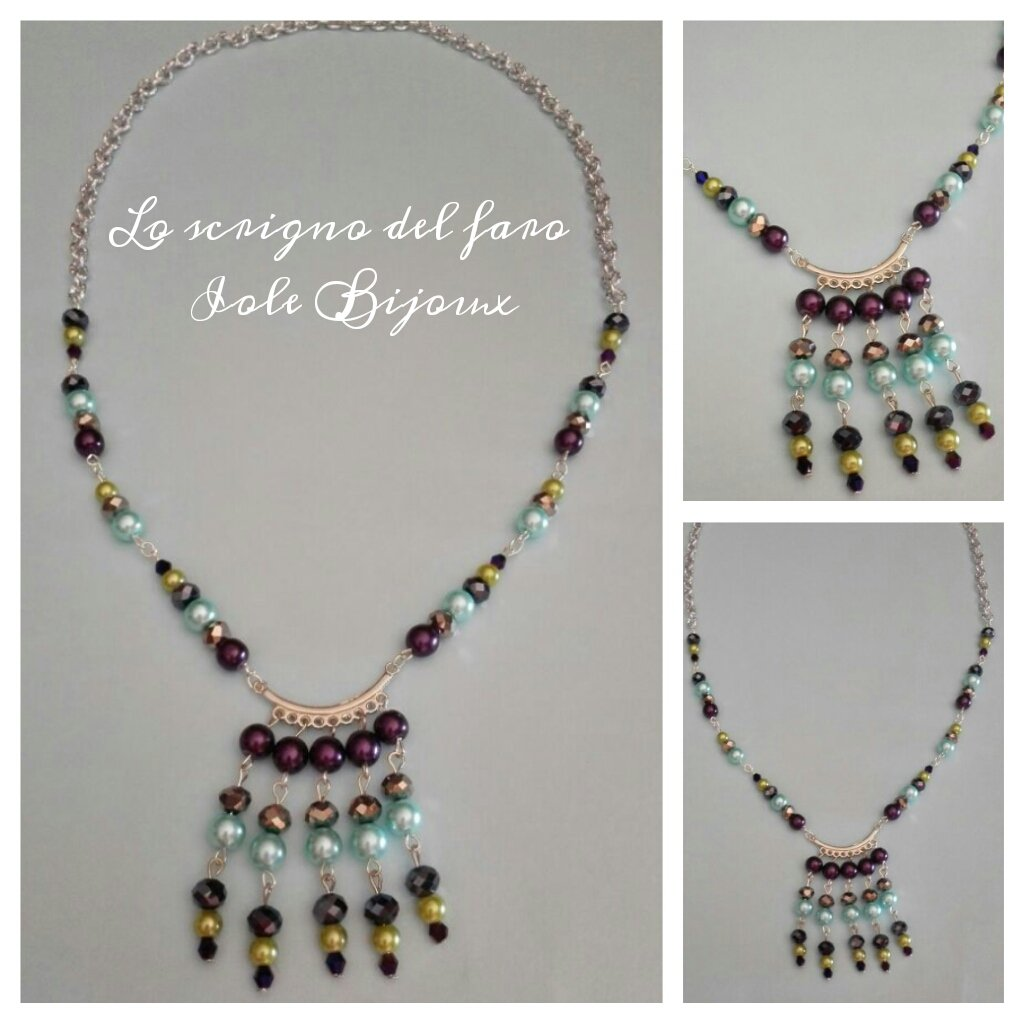 Collana stile etno-chic con perline viola, azzurre e verdi e cristalli sfaccettati