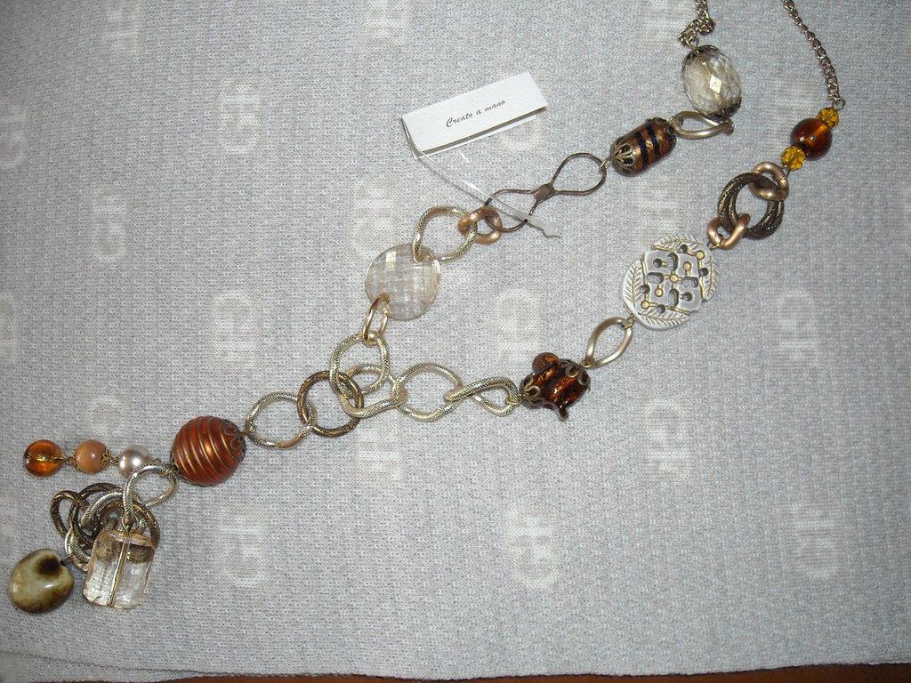 Collana bronzo, lunga+ pendente, stile etnico. Norem