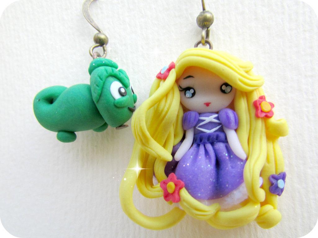 Orecchini Rapunzel in Fimo kawaii