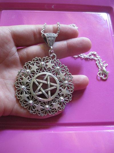 collana pendente talismano argento tibetano stella pentacolo