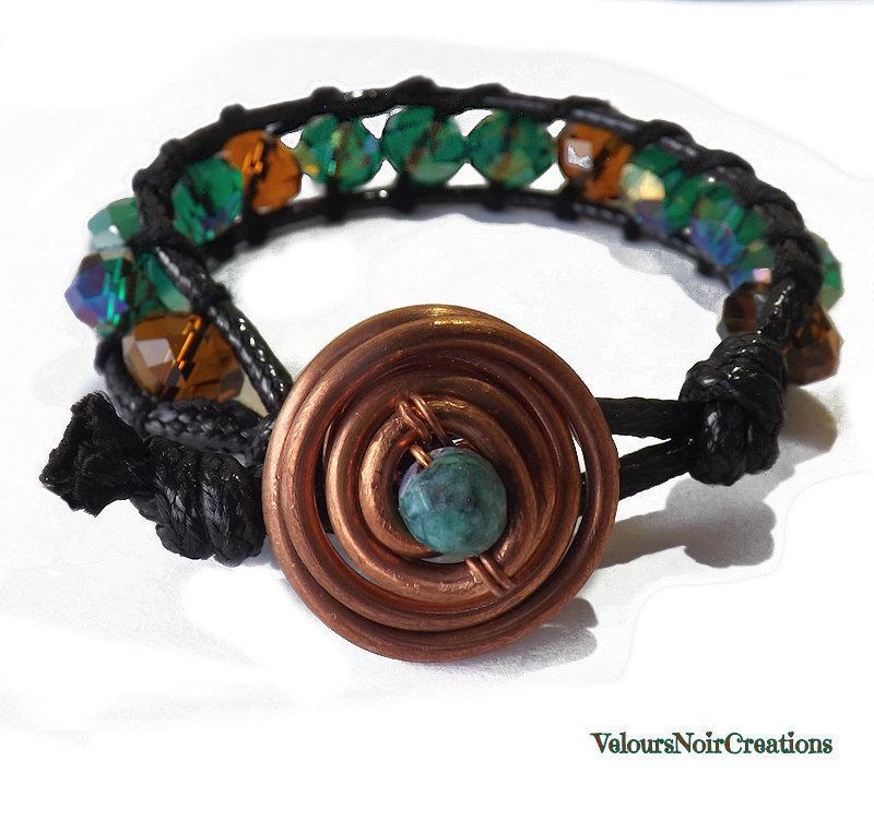 Bracciale stile chan luu creato a mano perle in cristallo verde cangiante