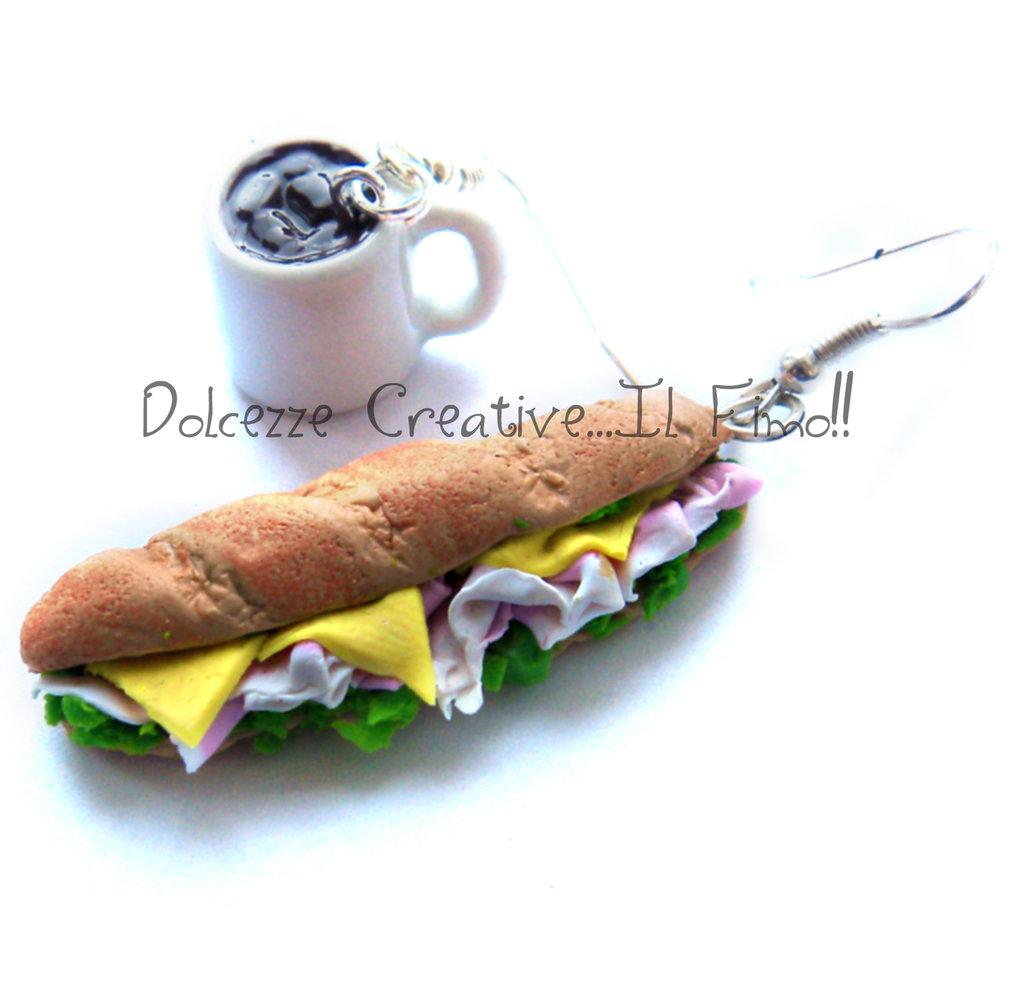 Orecchini Sabato Sera - Panino - Baguette- prosciutto, formaggio e insalata - Con bicchiere di coca cola