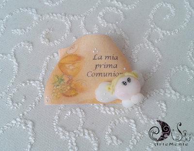 Bomboniera comunione pergamena con angioletto