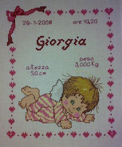 """Quadretto nascita - fiocco nascita - """"Baby Angel"""" -punto croce- B01"""
