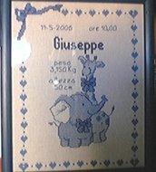 """Quadretto nascita - fiocco nascita - """"Giraffa Lui"""" -punto croce- B06"""